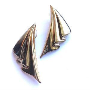 80s Gold Metal Draped Earrings
